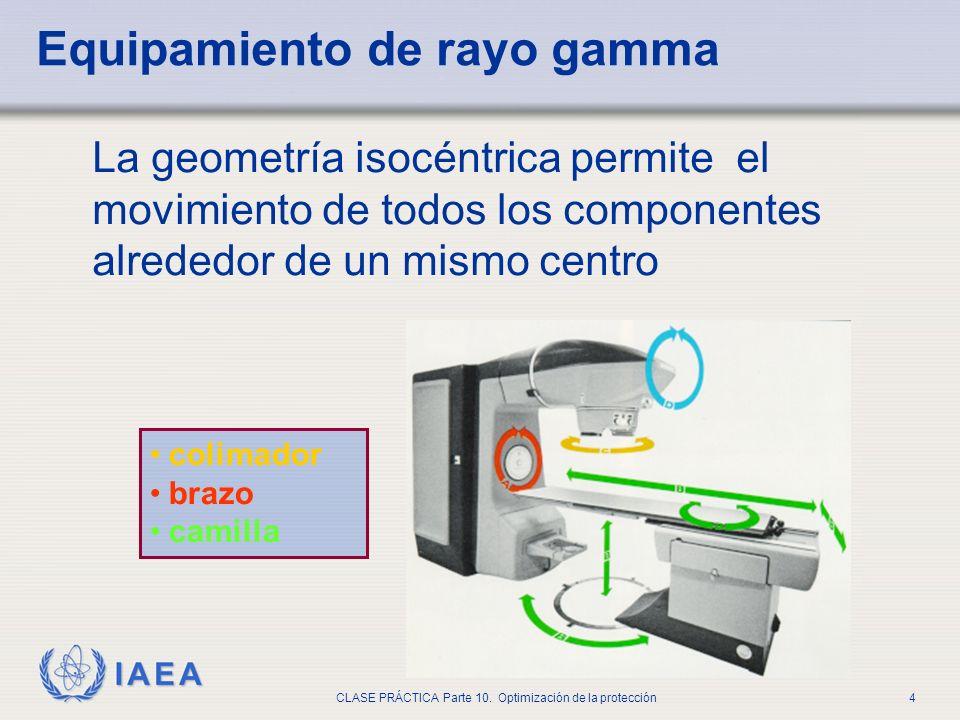 IAEA CLASE PRÁCTICA Parte 10. Optimización de la protección4 Equipamiento de rayo gamma La geometría isocéntrica permite el movimiento de todos los co