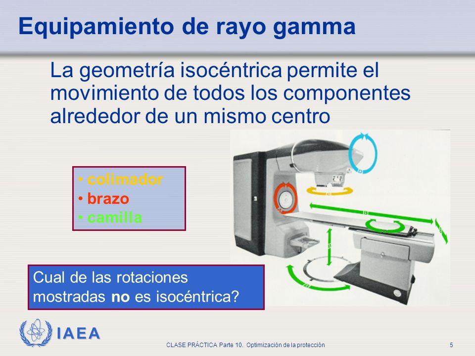 IAEA CLASE PRÁCTICA Parte 10. Optimización de la protección5 La geometría isocéntrica permite el movimiento de todos los componentes alrededor de un m