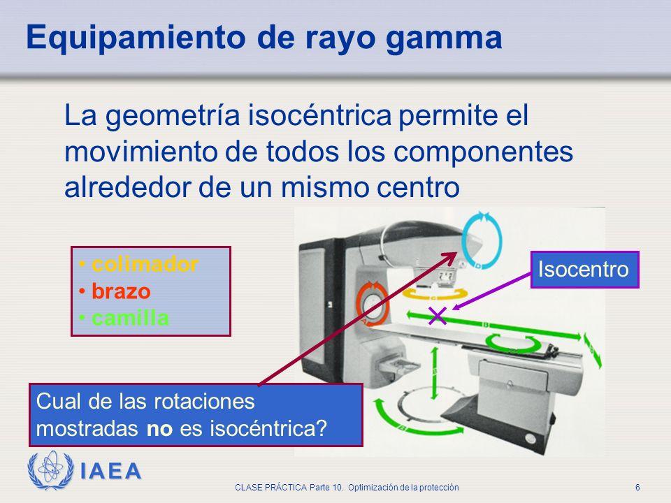 IAEA CLASE PRÁCTICA Parte 10. Optimización de la protección6 La geometría isocéntrica permite el movimiento de todos los componentes alrededor de un m