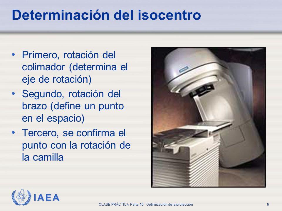 IAEA CLASE PRÁCTICA Parte 10. Optimización de la protección9 Determinación del isocentro Primero, rotación del colimador (determina el eje de rotación