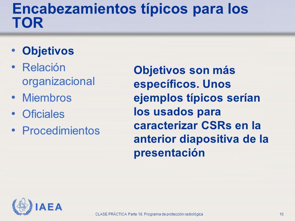 IAEA CLASE PRÁCTICA Parte 18. Programa de protección radiológica10 Objetivos Relación organizacional Miembros Oficiales Procedimientos Objetivos son m