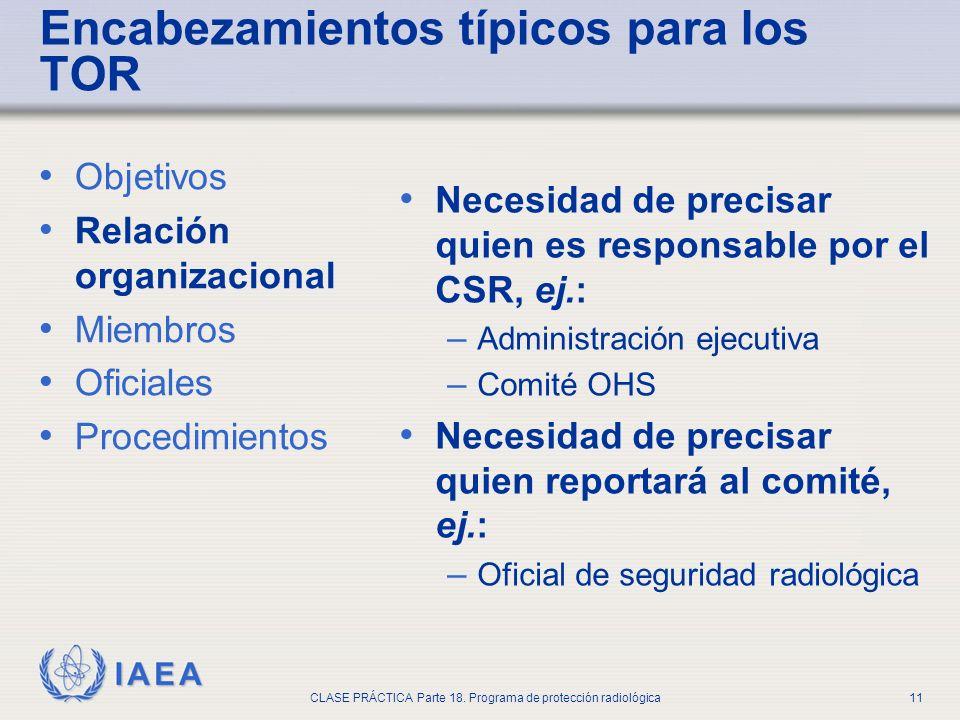 IAEA CLASE PRÁCTICA Parte 18. Programa de protección radiológica11 Objetivos Relación organizacional Miembros Oficiales Procedimientos Necesidad de pr