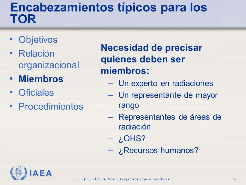 IAEA CLASE PRÁCTICA Parte 18. Programa de protección radiológica12 Objetivos Relación organizacional Miembros Oficiales Procedimientos Necesidad de pr