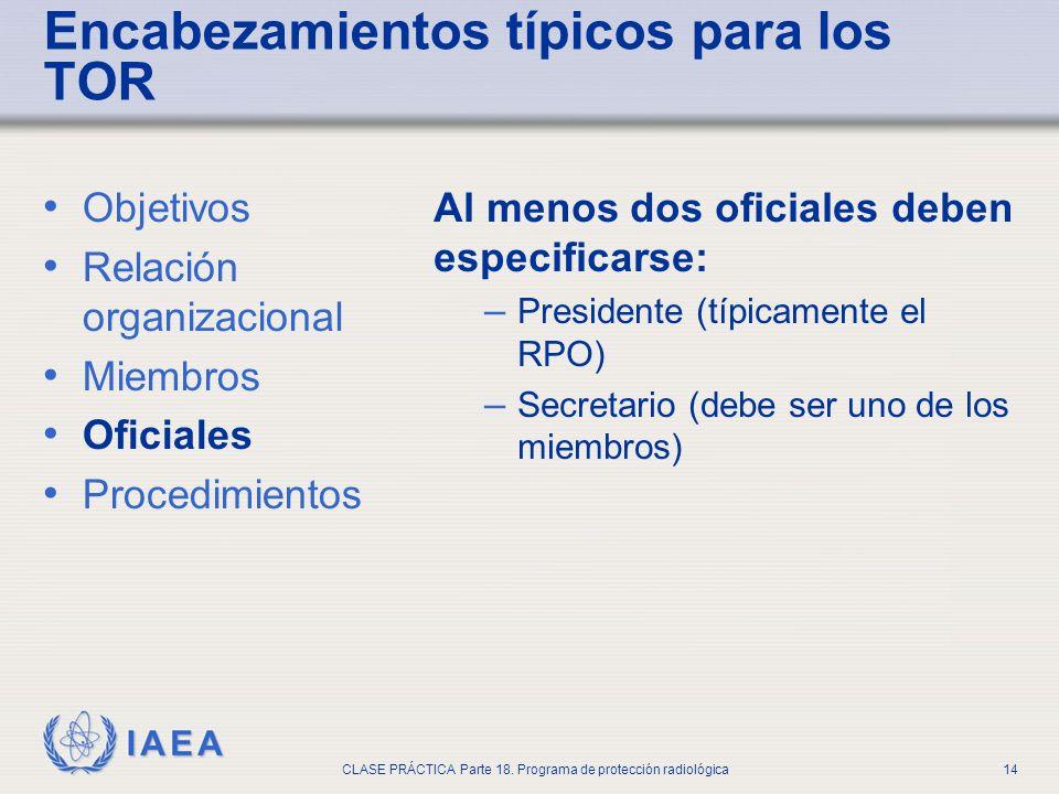 IAEA CLASE PRÁCTICA Parte 18. Programa de protección radiológica14 Encabezamientos típicos para los TOR Objetivos Relación organizacional Miembros Ofi