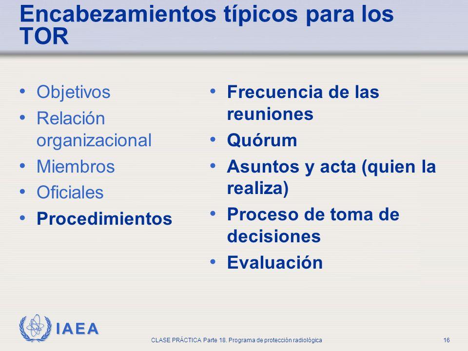 IAEA CLASE PRÁCTICA Parte 18. Programa de protección radiológica16 Objetivos Relación organizacional Miembros Oficiales Procedimientos Frecuencia de l