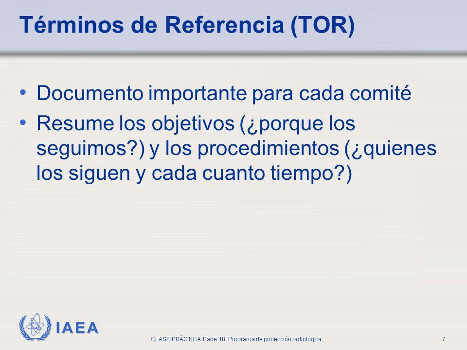 IAEA CLASE PRÁCTICA Parte 18. Programa de protección radiológica7 Términos de Referencia (TOR) Documento importante para cada comité Resume los objeti