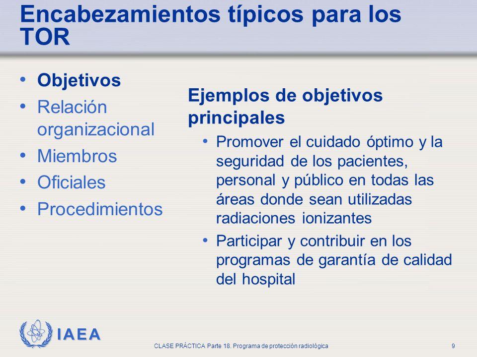 IAEA CLASE PRÁCTICA Parte 18. Programa de protección radiológica9 Objetivos Relación organizacional Miembros Oficiales Procedimientos Ejemplos de obje