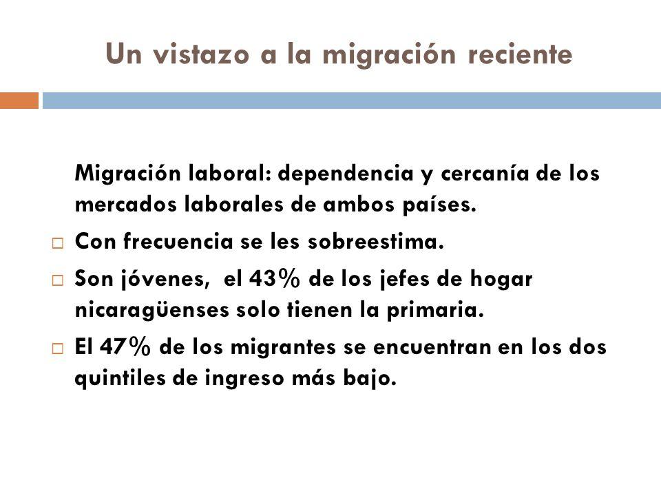 Un vistazo a la migración reciente Migración laboral: dependencia y cercanía de los mercados laborales de ambos países.