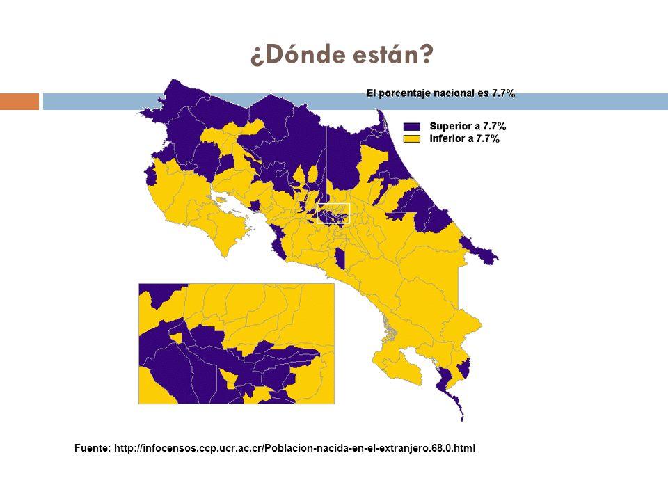 ¿Dónde están Fuente: http://infocensos.ccp.ucr.ac.cr/Poblacion-nacida-en-el-extranjero.68.0.html