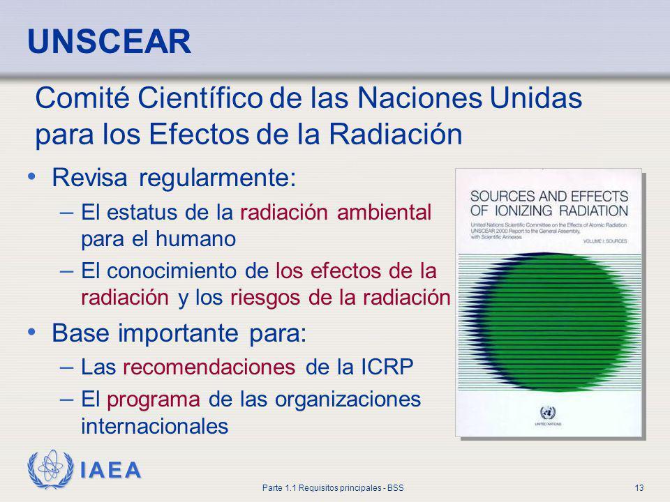 IAEA Parte 1.1 Requisitos principales - BSS13 UNSCEAR Revisa regularmente: – El estatus de la radiación ambiental para el humano – El conocimiento de