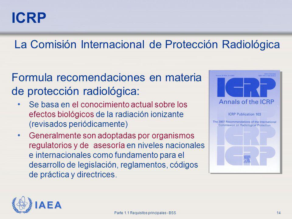 IAEA Parte 1.1 Requisitos principales - BSS14 ICRP Formula recomendaciones en materia de protección radiológica: Se basa en el conocimiento actual sob
