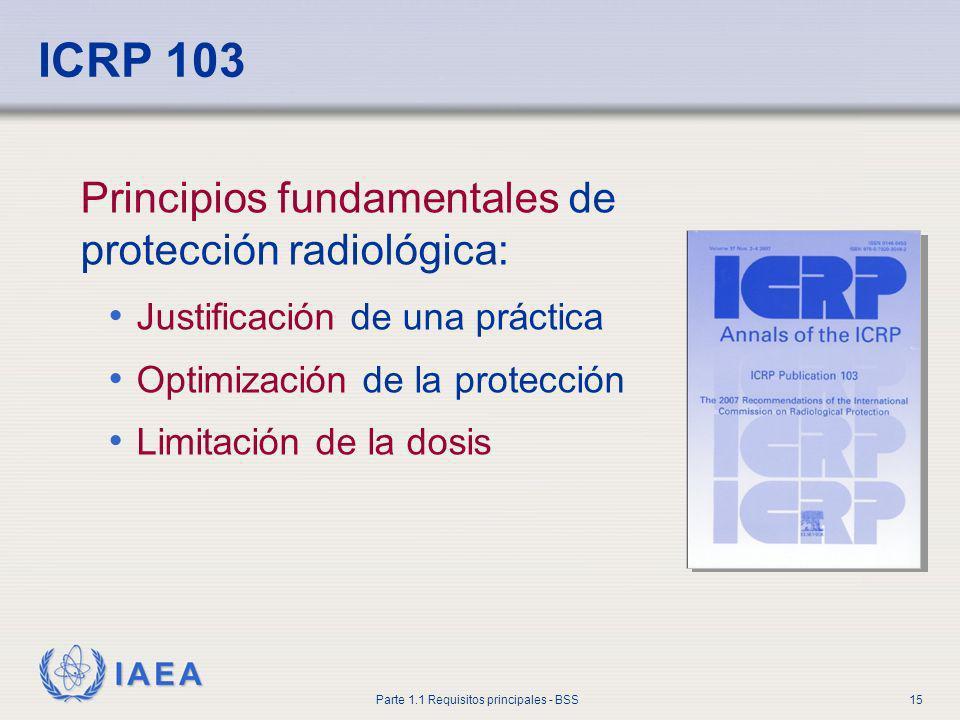 IAEA Parte 1.1 Requisitos principales - BSS15 ICRP 103 Principios fundamentales de protección radiológica: Justificación de una práctica Optimización