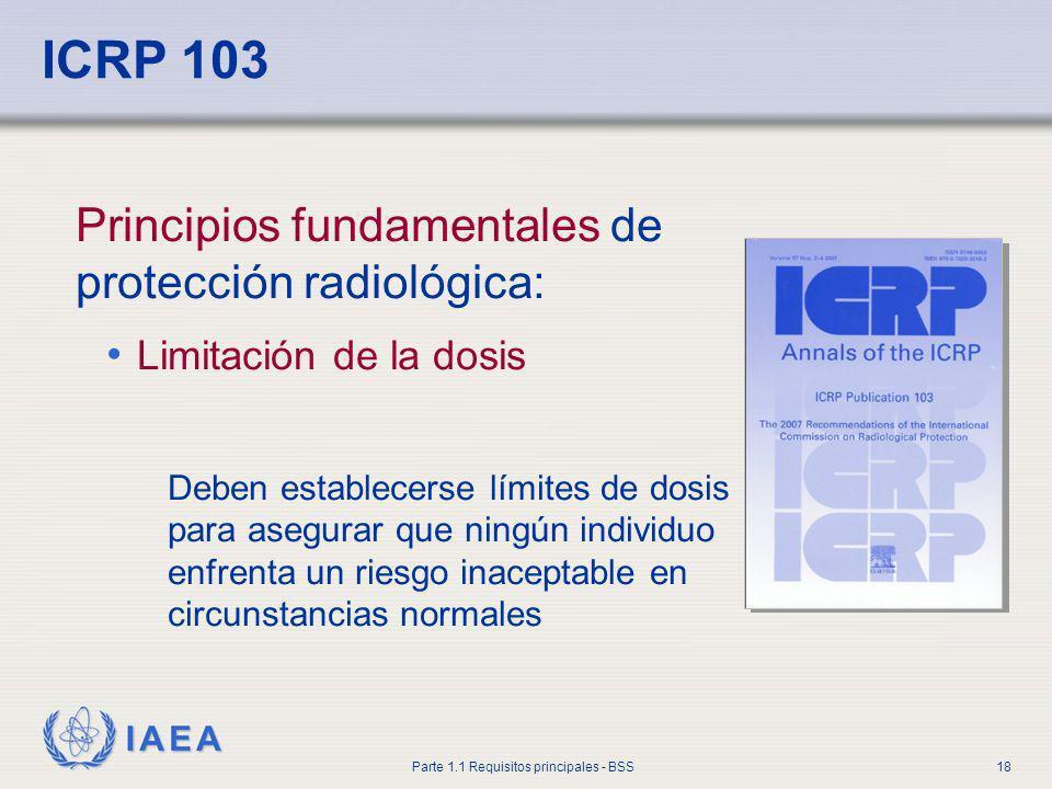 IAEA Parte 1.1 Requisitos principales - BSS18 ICRP 103 Principios fundamentales de protección radiológica: Limitación de la dosis Deben establecerse l