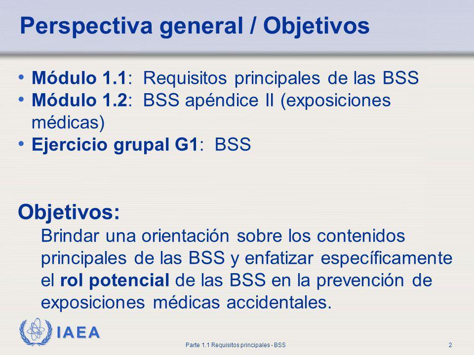 IAEA Parte 1.1 Requisitos principales - BSS2 Perspectiva general / Objetivos Módulo 1.1: Requisitos principales de las BSS Módulo 1.2: BSS apéndice II