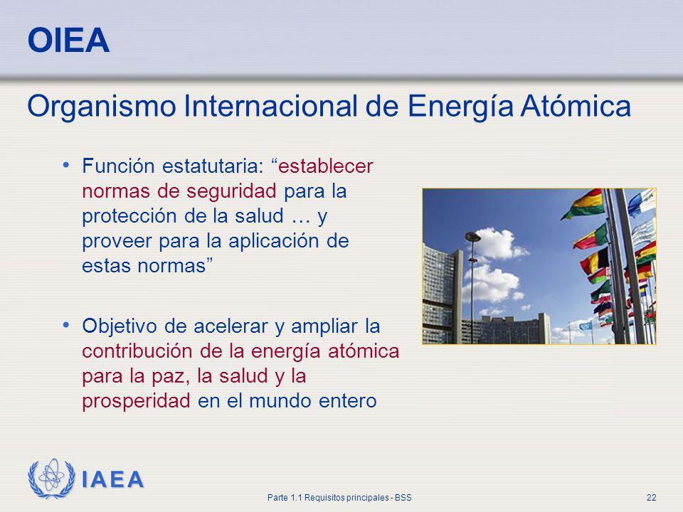 IAEA Parte 1.1 Requisitos principales - BSS22 OIEA Función estatutaria: establecer normas de seguridad para la protección de la salud … y proveer para