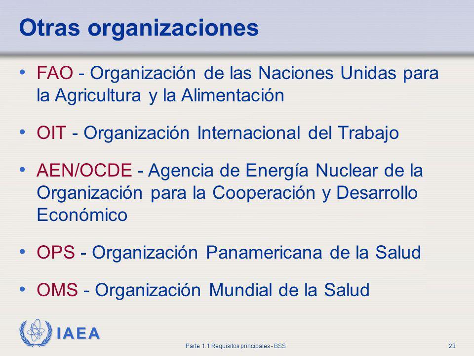 IAEA Parte 1.1 Requisitos principales - BSS23 Otras organizaciones FAO - Organización de las Naciones Unidas para la Agricultura y la Alimentación OIT
