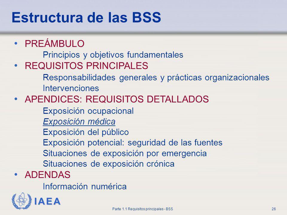 IAEA Parte 1.1 Requisitos principales - BSS26 Estructura de las BSS PREÁMBULO Principios y objetivos fundamentales REQUISITOS PRINCIPALES Responsabili