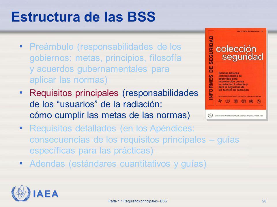 IAEA Parte 1.1 Requisitos principales - BSS28 Estructura de las BSS Preámbulo (responsabilidades de los gobiernos: metas, principios, filosofía y acue