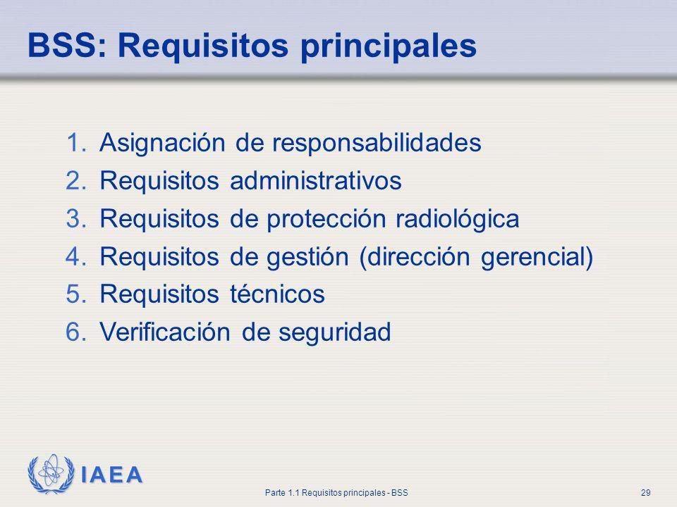 IAEA Parte 1.1 Requisitos principales - BSS29 BSS: Requisitos principales 1.Asignación de responsabilidades 2.Requisitos administrativos 3.Requisitos
