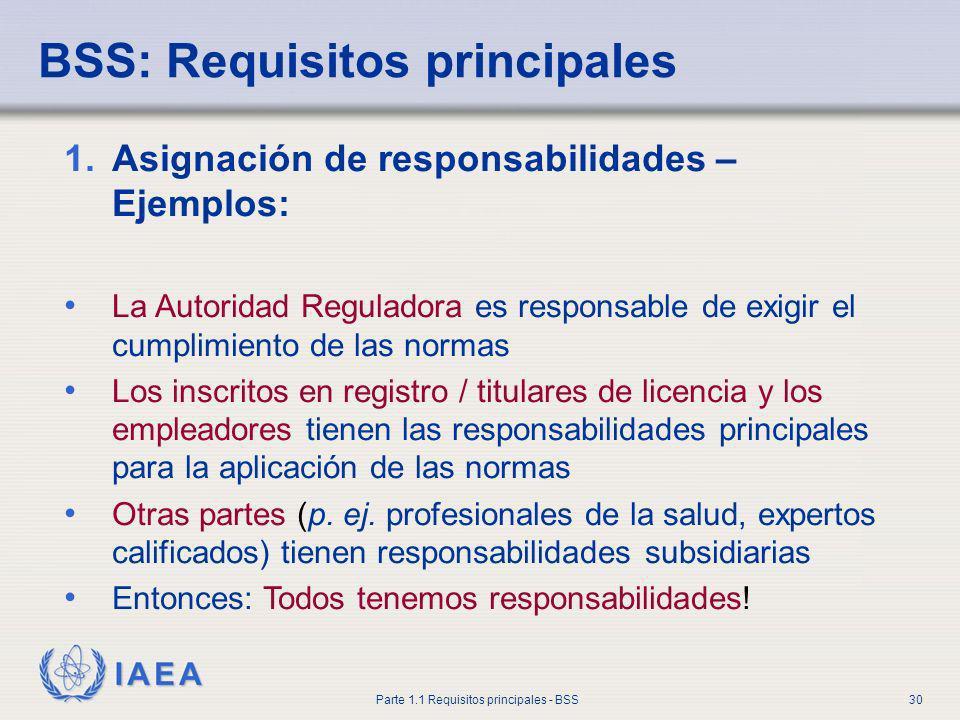 IAEA Parte 1.1 Requisitos principales - BSS30 BSS: Requisitos principales 1.Asignación de responsabilidades – Ejemplos: La Autoridad Reguladora es res