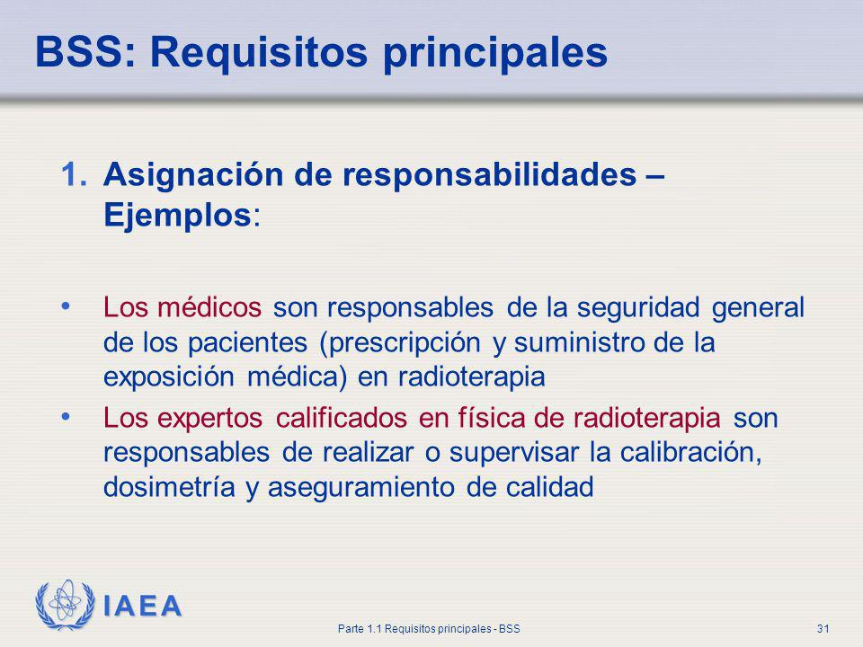 IAEA Parte 1.1 Requisitos principales - BSS31 BSS: Requisitos principales 1.Asignación de responsabilidades – Ejemplos: Los médicos son responsables d