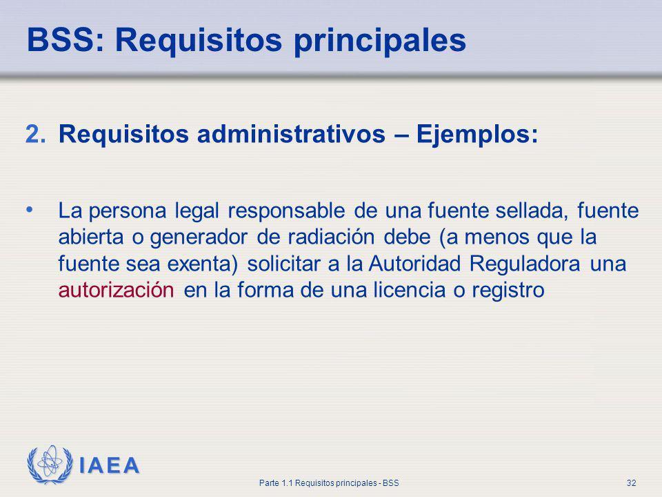 IAEA Parte 1.1 Requisitos principales - BSS32 BSS: Requisitos principales 2.Requisitos administrativos – Ejemplos: La persona legal responsable de una