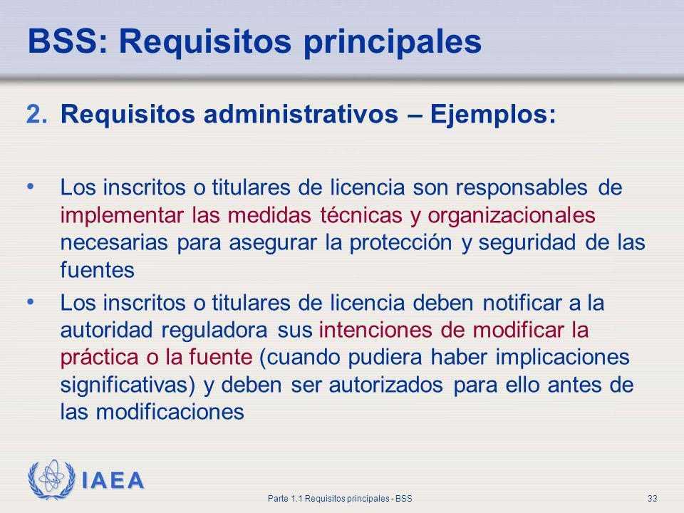 IAEA Parte 1.1 Requisitos principales - BSS33 BSS: Requisitos principales 2.Requisitos administrativos – Ejemplos: Los inscritos o titulares de licenc