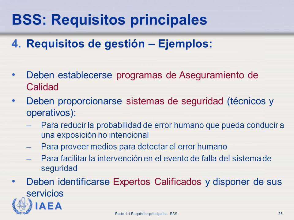 IAEA Parte 1.1 Requisitos principales - BSS36 BSS: Requisitos principales 4.Requisitos de gestión – Ejemplos: Deben establecerse programas de Aseguram