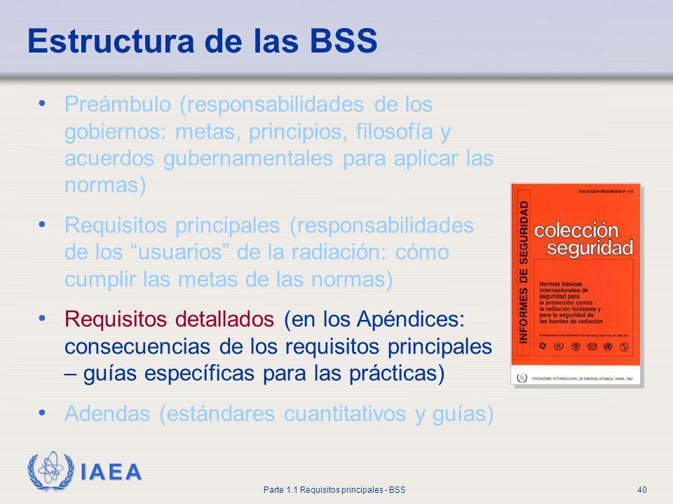 IAEA Parte 1.1 Requisitos principales - BSS40 Estructura de las BSS Preámbulo (responsabilidades de los gobiernos: metas, principios, filosofía y acue