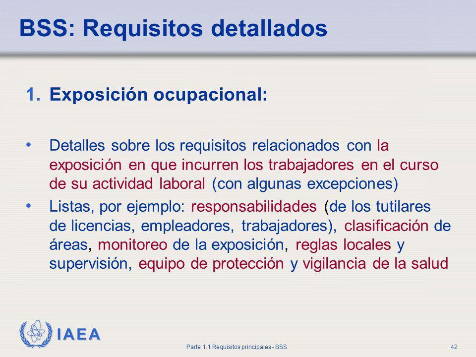 IAEA Parte 1.1 Requisitos principales - BSS42 BSS: Requisitos detallados 1.Exposición ocupacional: Detalles sobre los requisitos relacionados con la e