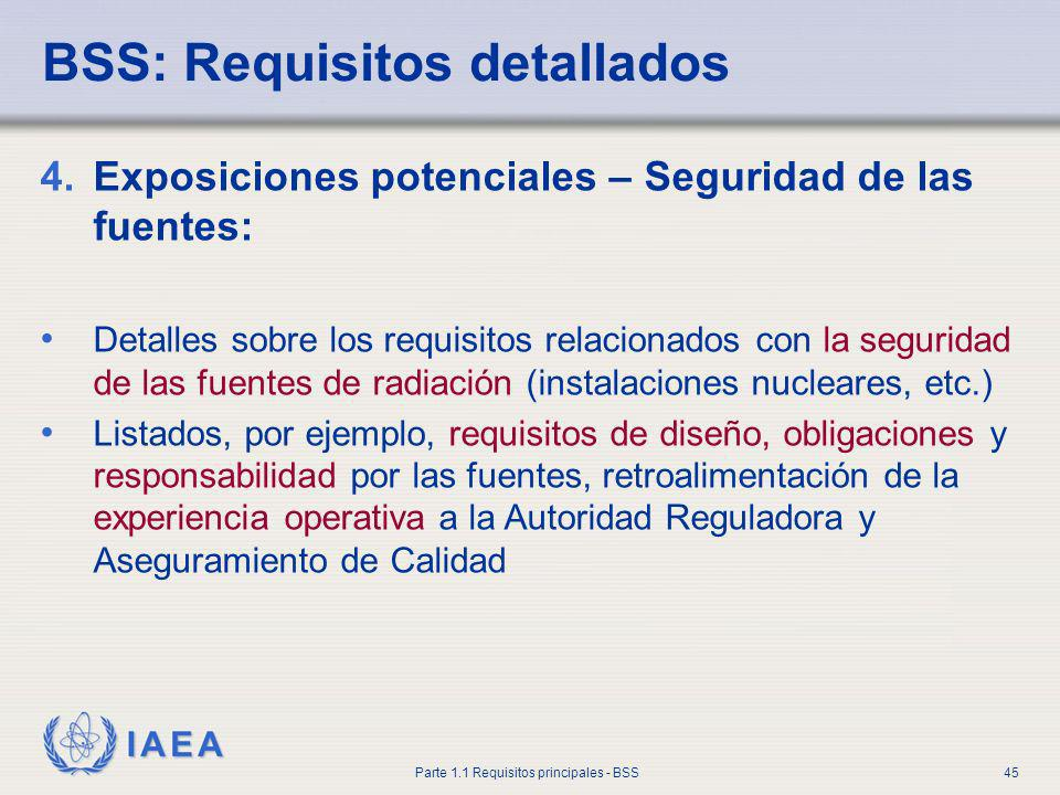 IAEA Parte 1.1 Requisitos principales - BSS45 4.Exposiciones potenciales – Seguridad de las fuentes: Detalles sobre los requisitos relacionados con la
