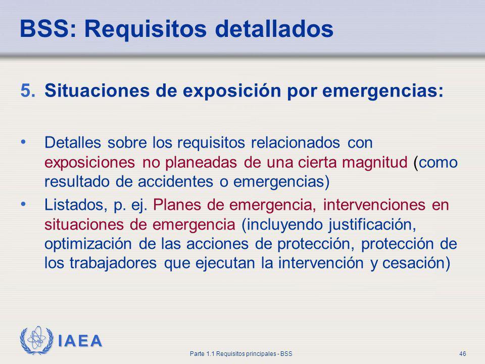 IAEA Parte 1.1 Requisitos principales - BSS46 5.Situaciones de exposición por emergencias: Detalles sobre los requisitos relacionados con exposiciones
