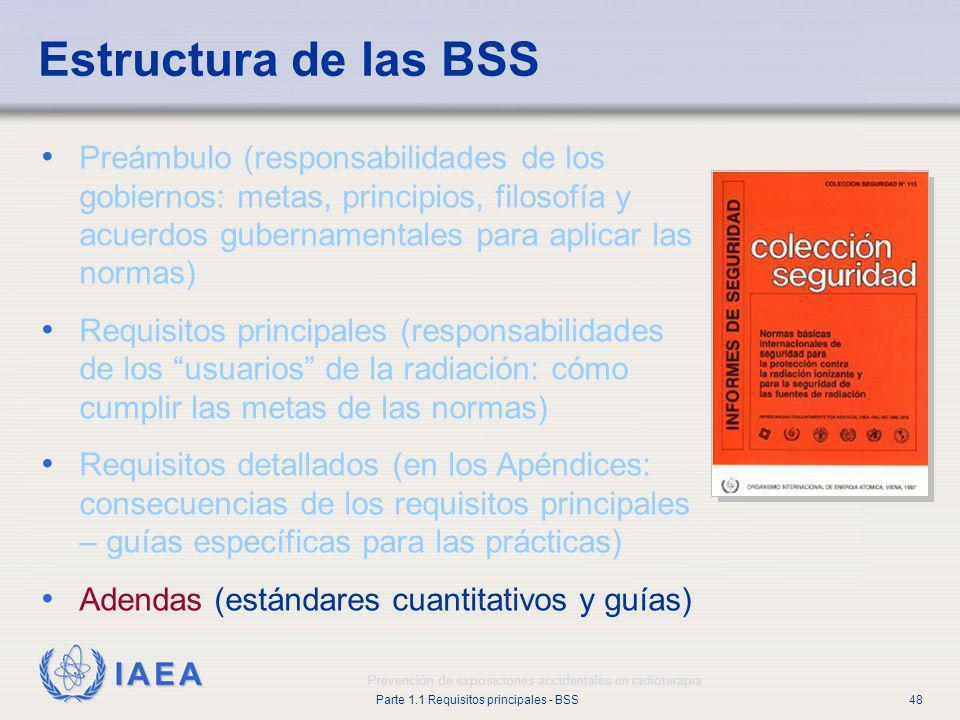 IAEA Parte 1.1 Requisitos principales - BSS48 Prevención de exposiciones accidentales en radioterapia Estructura de las BSS Preámbulo (responsabilidad