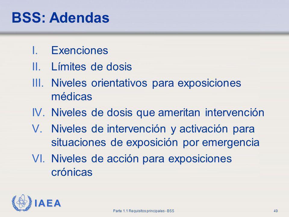 IAEA Parte 1.1 Requisitos principales - BSS49 BSS: Adendas I.Exenciones II.Límites de dosis III.Niveles orientativos para exposiciones médicas IV.Nive