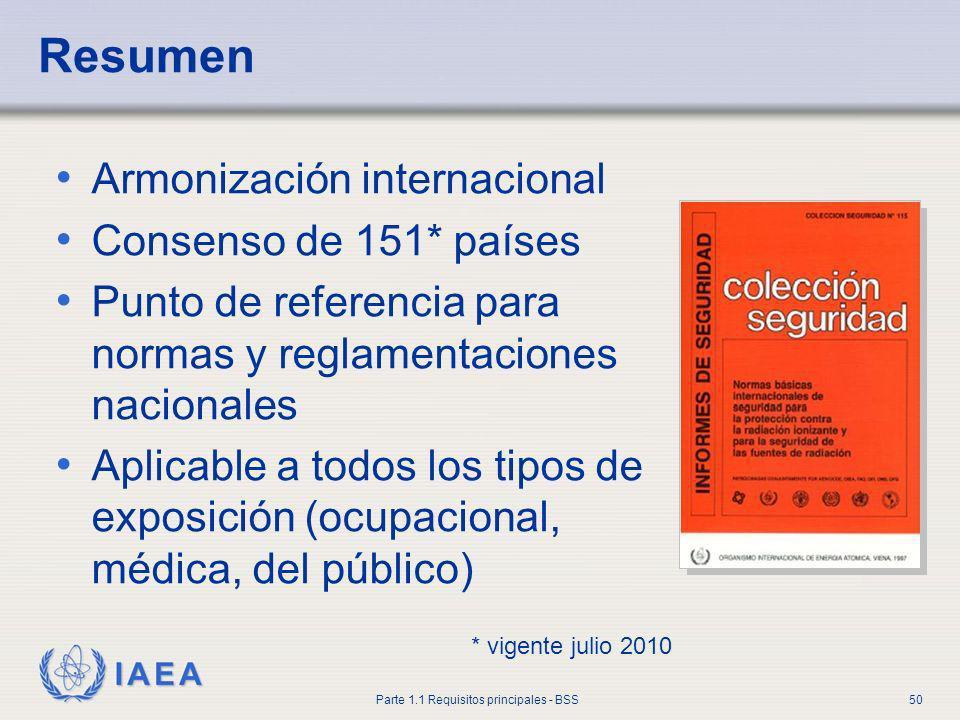 IAEA Parte 1.1 Requisitos principales - BSS50 Resumen Armonización internacional Consenso de 151* países Punto de referencia para normas y reglamentac