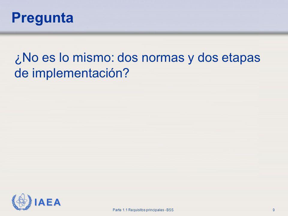 IAEA Parte 1.1 Requisitos principales - BSS9 Pregunta ¿No es lo mismo: dos normas y dos etapas de implementación?