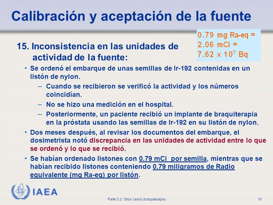 IAEA Parte 3.2. Otros casos (braquiterapia)10 Calibración y aceptación de la fuente 15. Inconsistencia en las unidades de actividad de la fuente: Se o