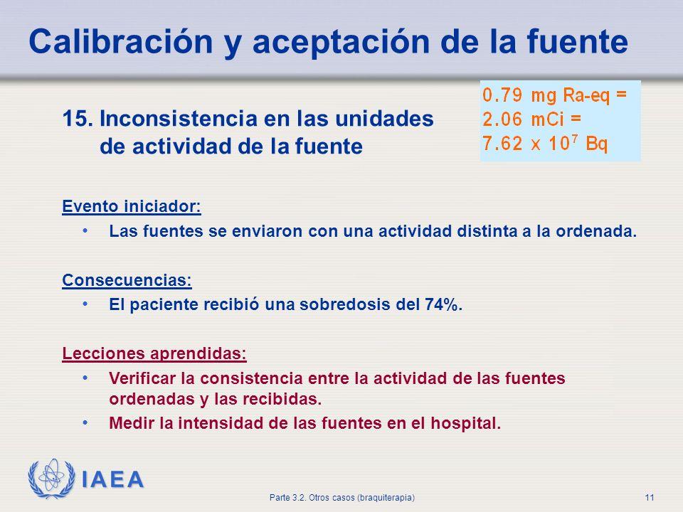 IAEA Parte 3.2. Otros casos (braquiterapia)11 15. Inconsistencia en las unidades de actividad de la fuente Evento iniciador: Las fuentes se enviaron c