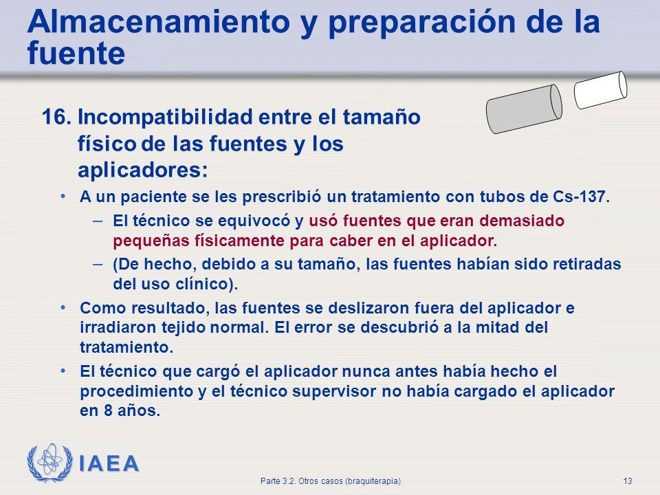 IAEA Parte 3.2. Otros casos (braquiterapia)13 Almacenamiento y preparación de la fuente 16. Incompatibilidad entre el tamaño físico de las fuentes y l