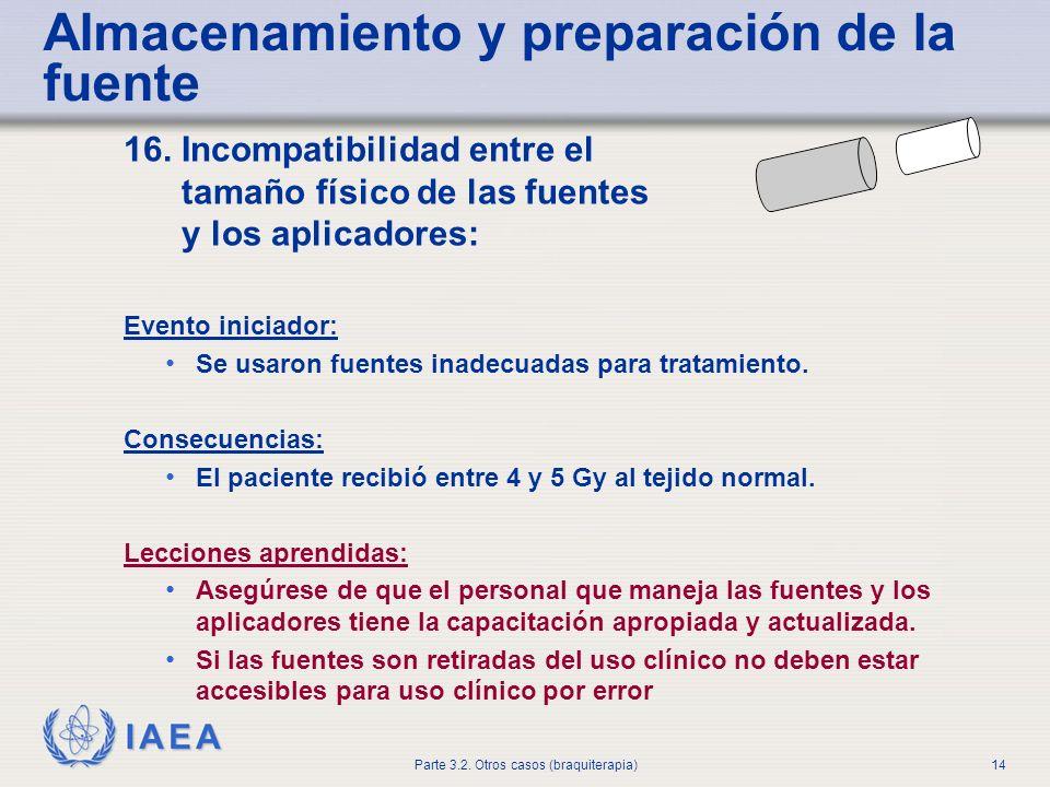 IAEA Parte 3.2. Otros casos (braquiterapia)14 Almacenamiento y preparación de la fuente 16. Incompatibilidad entre el tamaño físico de las fuentes y l