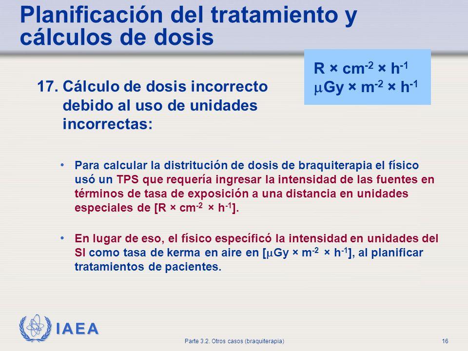 IAEA Parte 3.2. Otros casos (braquiterapia)16 Planificación del tratamiento y cálculos de dosis 17. Cálculo de dosis incorrecto debido al uso de unida