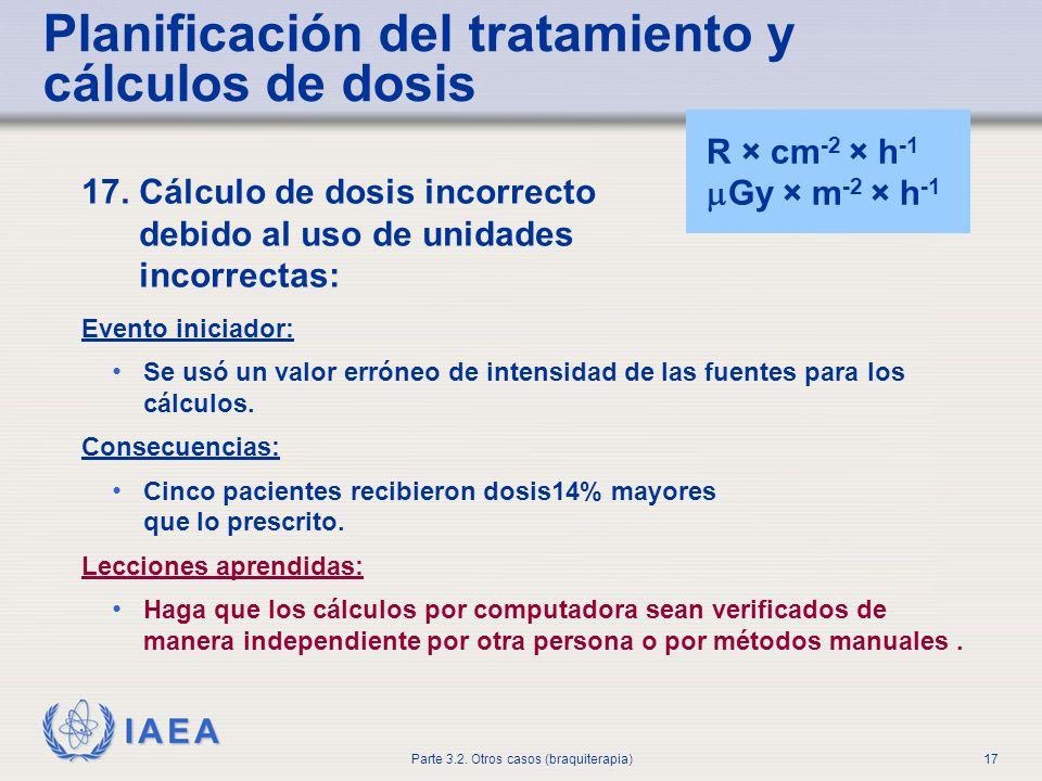 IAEA Parte 3.2. Otros casos (braquiterapia)17 Planificación del tratamiento y cálculos de dosis 17. Cálculo de dosis incorrecto debido al uso de unida