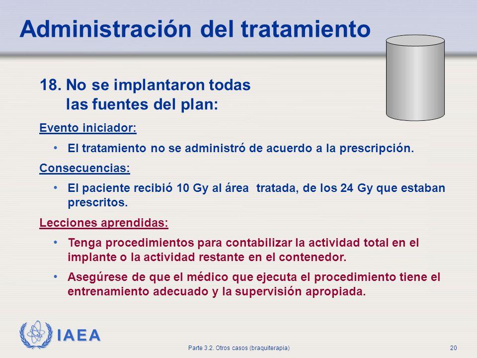 IAEA Parte 3.2. Otros casos (braquiterapia)20 Administración del tratamiento 18. No se implantaron todas las fuentes del plan: Evento iniciador: El tr