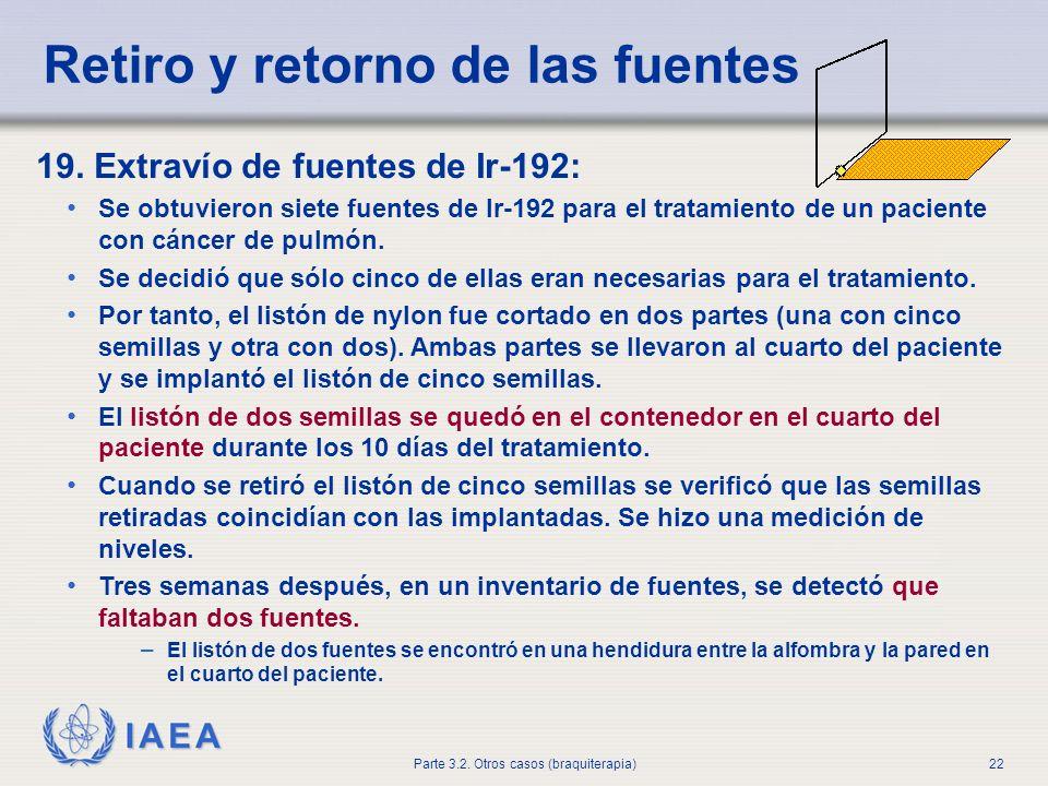 IAEA Parte 3.2. Otros casos (braquiterapia)22 Retiro y retorno de las fuentes 19. Extravío de fuentes de Ir-192: Se obtuvieron siete fuentes de Ir-192
