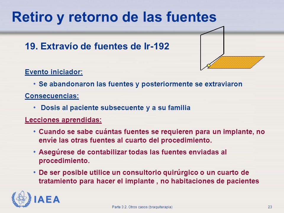 IAEA Parte 3.2. Otros casos (braquiterapia)23 Retiro y retorno de las fuentes 19. Extravío de fuentes de Ir-192 Evento iniciador: Se abandonaron las f
