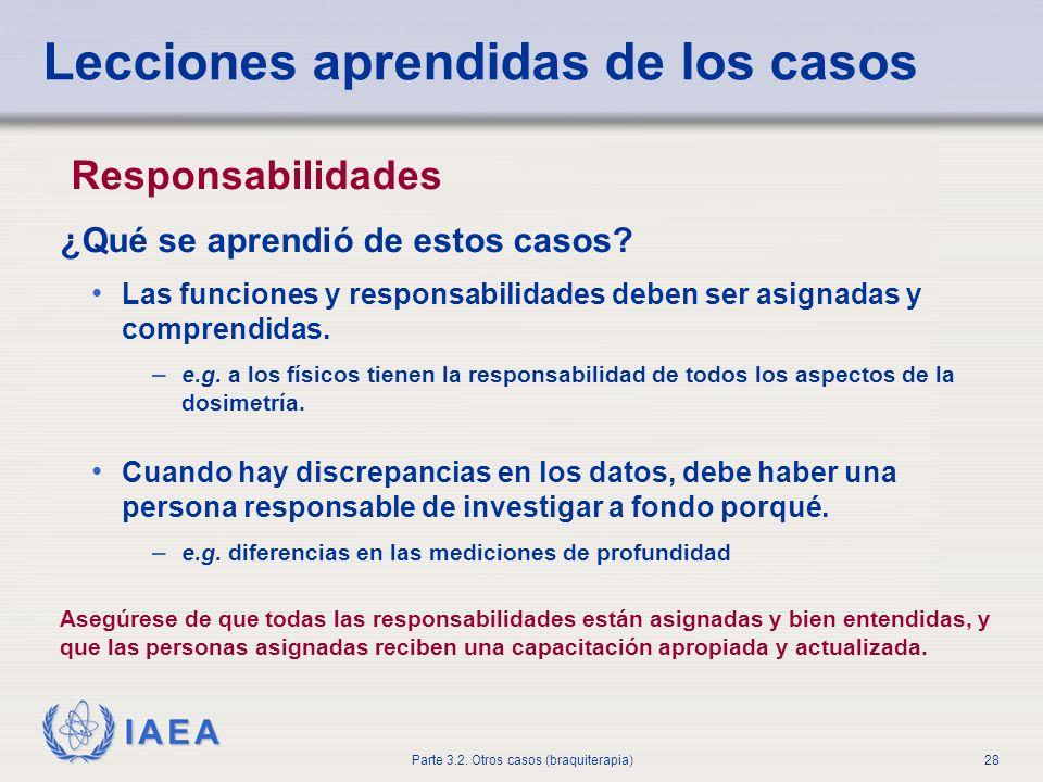 IAEA Parte 3.2. Otros casos (braquiterapia)28 Lecciones aprendidas de los casos Responsabilidades ¿Qué se aprendió de estos casos? Las funciones y res