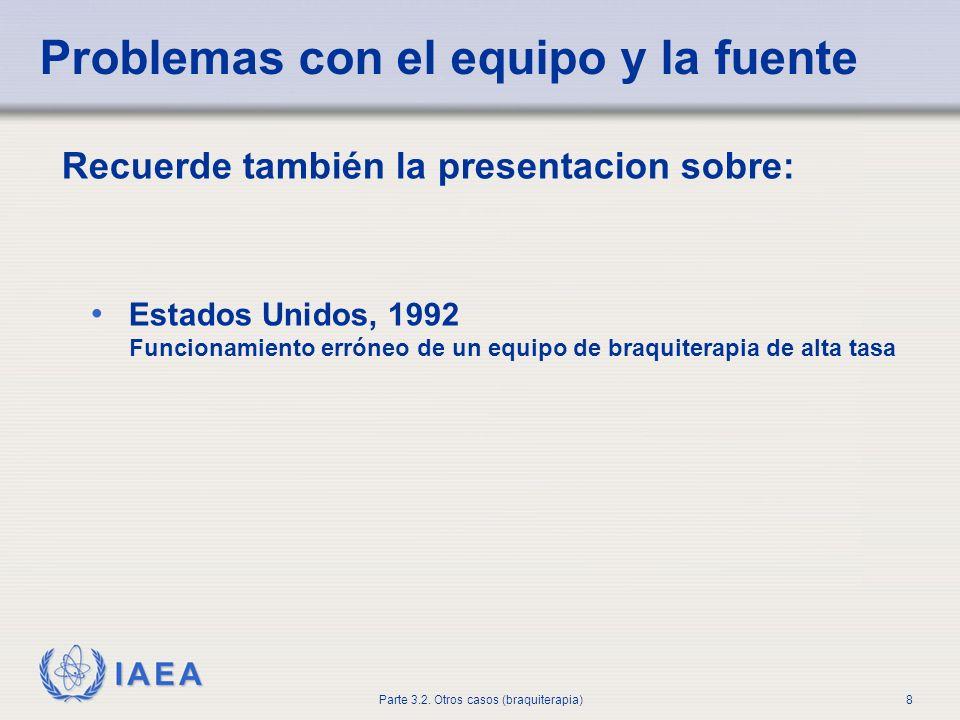 IAEA Parte 3.2. Otros casos (braquiterapia)8 Recuerde también la presentacion sobre: Estados Unidos, 1992 Funcionamiento erróneo de un equipo de braqu