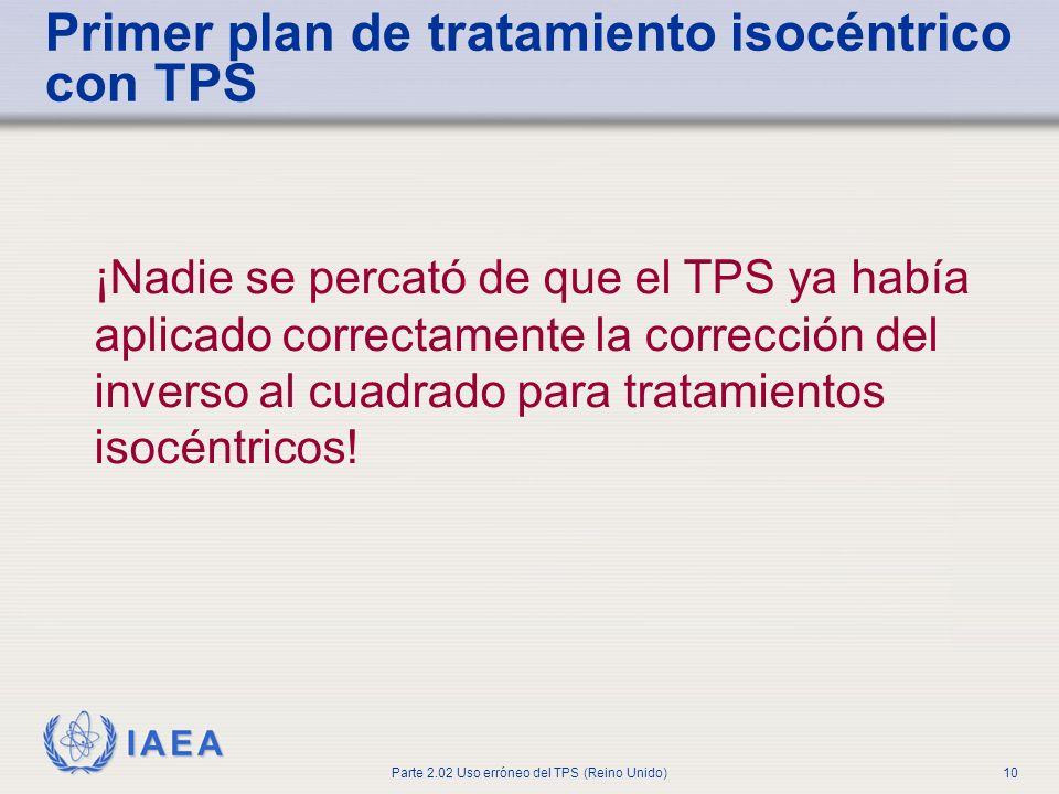 IAEA Parte 2.02 Uso erróneo del TPS (Reino Unido)10 ¡Nadie se percató de que el TPS ya había aplicado correctamente la corrección del inverso al cuadr