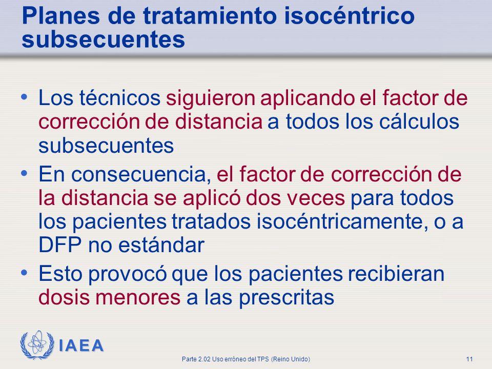 IAEA Parte 2.02 Uso erróneo del TPS (Reino Unido)11 Planes de tratamiento isocéntrico subsecuentes Los técnicos siguieron aplicando el factor de corre