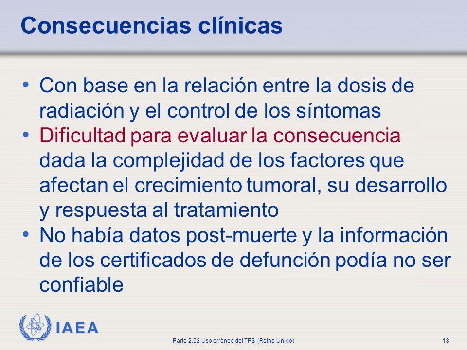 IAEA Parte 2.02 Uso erróneo del TPS (Reino Unido)18 Consecuencias clínicas Con base en la relación entre la dosis de radiación y el control de los sín